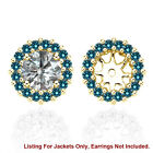 Blue SI2 Diamond Halo Solitaire Stud Womens Earrings Jackets 14K Yellow Gold 4