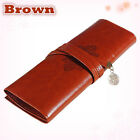 Retro Fashion Roll Leather Make up Cosmetic Pen Pencil Case Pouch Purse Bag Box