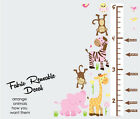 Growth Chart With Jungle Animals,  Height Wall Chart,  Wall Decal,  Kid decals
