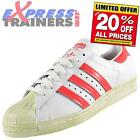 Adidas Originals Mens Superstar 80s Rare Retro Trainers White Red *AUTHENTIC*