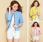 Women's Long Sleeve Lace Embroidery Stand Collar Zipper Mini Jacket Surcoat Tops