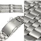 16/18/20mm Inoxydable Argenté Bracelet De Montre Acier Solide Watch Band Strap