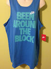 Nike Men's Been Around the Block Tank Top Blue 100% Cotton XL L 648367 463 NEW