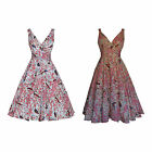 LADIES CLASSIC 40's 50's VINTAGE STYLE ORIENTAL BIRD PRINT FULL CIRCLE DRESS NEW
