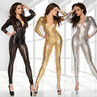 Sexy Womens Lingerie Patent Leather Hollow Tights Leotard Suit Cat Girl Clubwear