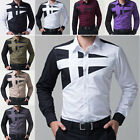 Fashion Men Luxury Stylish Casual Dress Slim Fit T-Shirts Casual Long Sleeve xhh