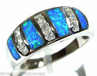 High Quality Blue Fire Opal Inlay Solid 925 Sterling Silver Band Ring Size 6 7 8