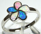 Multicolor Pink White Blue Fire Opal Inlay 925 Sterling Silver Flower Ring 6 - 9