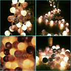 20 Battery Powered COTTON BALL FAIRY LED STRING LIGHTS PARTY WEDDING Home DECOR