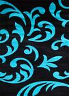 5903 Black Gray Turquoise Modern Area Rug New Carpet 2x3, 5x7, 8x11
