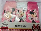 New Disney Minnie Mouse girls 3 pack of 100% cotton knickers briefs underwear