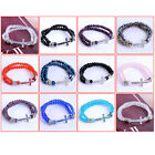 12 Colors 2-Row Faceted Crystal Glass Cross Beads Bracelet Wristband Stretchy