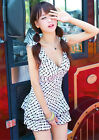 One Piece Ruched White Polka Dot Siamese Swimdress Swim Dress Swimsuit Tankini