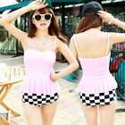 Women Retro 2pcs Swimsuit Peplum Tankini Top + Check Pattern High Waisted Bottom