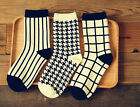 NEW BRAND Cotton Socks Women Men Stripe Houndstooth Grid Printed Socks LA