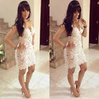 Fashion Summer Ladies Sexy Bandage Lace White Cocktail Wedding Party Mini Dress