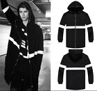 Men Extended Long Wizard Zipper White Stripe Street Coat Hoody Hoodie Jacket