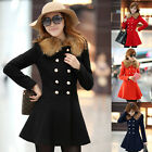 Fashion Women's Trench Parka Jacket Double Breasted Coat Winter Warm Outerwear