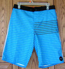 O'neill Black Gray Trim Blue Stripe Board Shorts Swim Trunks Licensed NWT RC