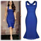 Womens Sexy Stretch Bodycon Cocktail Evening Party Slim Flounce Dress Skirt HOT