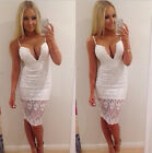 Women Casual sexy Lace Hollow Deep V Sleeveless Bodycon Party Pencil Mini Dress