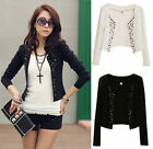 2 Colors Lady Short Thin Blazer Coat Jacket Blouse Basic Cardigan Tops Suit XS-L