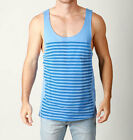 Mens SUPER STRIPE Loose Fit Singlet Casual Festival Cotton Tank-BLUE