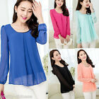 Fashion Korean Slim Women's Loose Chiffon Tops Long Sleeve Shirt Casual Blouse