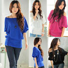 Sexy Women's Off Shoulder Bandage Sleeve Loose Clubwear T-Shirt Tops Blouses Hot