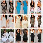 Womens Ladies Midi Mini Dress Party Evening Bodycon Pencil Lace Size 8 10 12 14