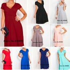 NEW Women Sexy Short Sleeve V-Neck Tunic Maternity Pleated Stretchy Basic Dress