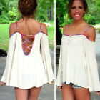Plus XL Sexy Ladies Womens Loose T-Shirt Off Shoulder Hollowed Back Tops Blouse