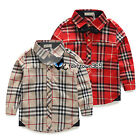 2015 Spring Baby Child Kids Toddlers Boys Classic Plaid Neck Tie Shirt Top 3-8Y