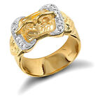 Mens Heavy Weight 9ct Yellow Gold Buckle Ring