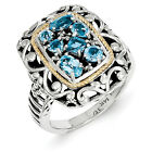 Blue Topaz & Diamond Ring Silver 14K Gold Accent 0.03 Ct Size 6-8 Shey Couture