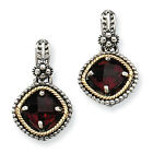 Garnet Dangle Post Earrings Sterling Silver & 14K Gold Accent Shey Couture