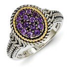 Amethyst Cluster Ring .925 Silver w/ 14K Gold Accent Size 6 - 8 Shey Couture