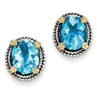 Swiss Blue Topaz Post Earrings .925 Sterling Silver 14K Gold Accent Shey Couture