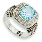 Blue Topaz Diamond Ring Sterling Silver Gold Accent 0.167 Ct Sz 6-8 Shey Couture