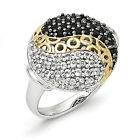 White Topaz & Onyx Ring .925 Sterling Silver Gold Plated Size 6 - 8 Shey Couture