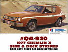 QA-920 1977 AMC - AMERICAN MOTORS - GREMLIN X - SIDE and DECK STRIPE DECAL