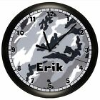 CAMOUFLAGE WALL CLOCK PERSONALIZED BOYS BEDROOM GIFT DECOR GRAY GREY HUNTING