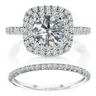 1.25 TCW White Diamond Cushion Halo Engagement Ring Wedding 14K White Gold 1
