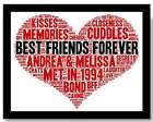 PERSONALISED BEST FRIEND Birthday Christmas THANK YOU WORDART Heart PRINT GIFT