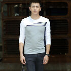 Elegant Men's Comfy Spell Color Round Neck Long-Sleeved T-shirt Tee Shirts CA LA