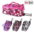 """Travel Bag Womens Floral Holdall Wheeled 26"""" New"""