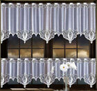 "Kitchen Curtain White Cafe Lace Drop 20"" Or 28"" Width By Metres Ready To Hang"