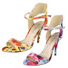 """Ladies Anne Michelle Floral Print Sandals with 4.5"""" Heel Style F10341"""