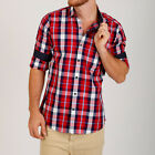 Mens Button Up Causal Shirts Designer Fashion Shirts Red and Blue Check