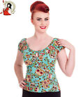 HELL BUNNY 50's sugar SKULL LOVE rockabilly TOP idaho TURQUOISE